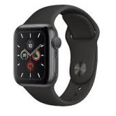 Apple Watch Series 5 44mm GPS Space Gray Aluminium Case With Black Sport Band - MWW12